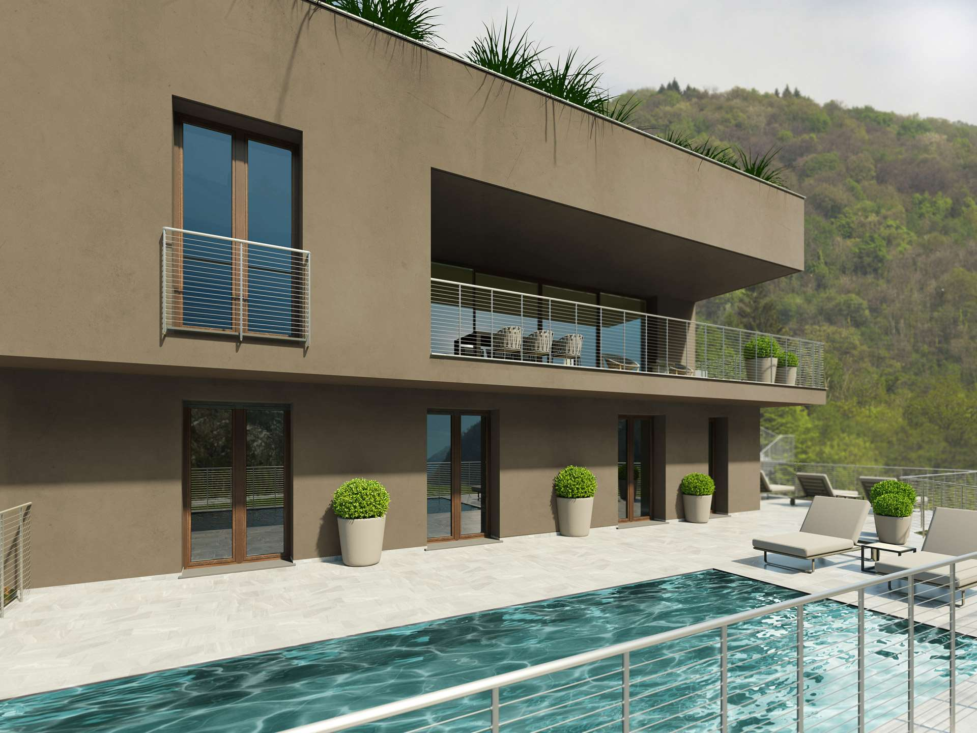 Contemporary villas with magnificent lake view.